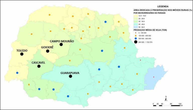 Distribuição territorial das áreas de produção de soja e de preservação ambiental no Paraná